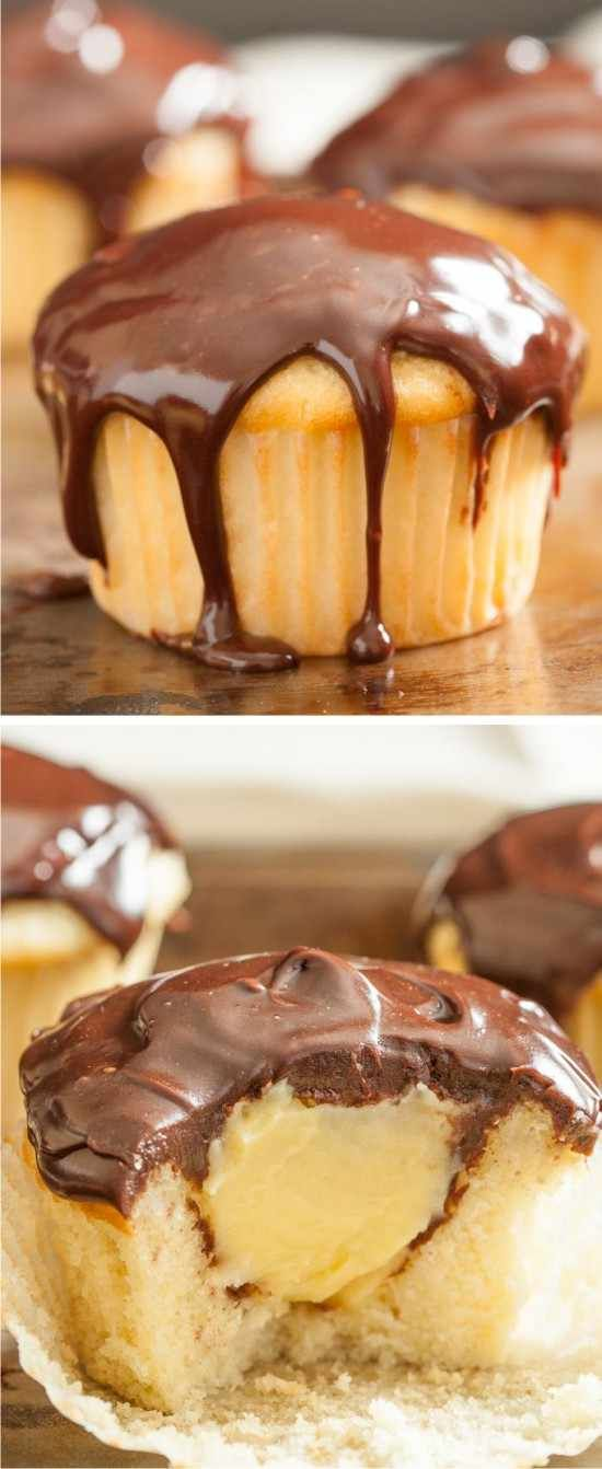 BOSTON CREAM CUPCAKES - chocolate, cream, cupcakes, dessert, recipes, vanilla