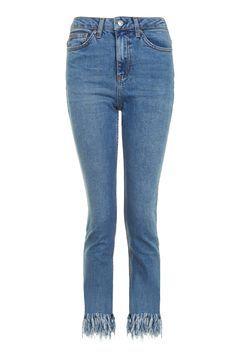 MOTO Fringe Hem Straight Leg Jeans