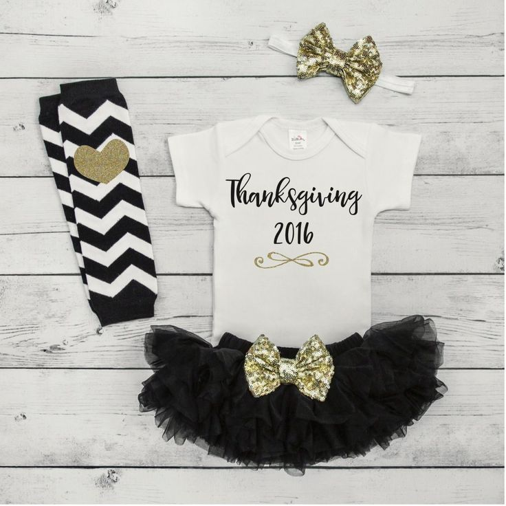 Baby Girl Thanksgiving Outfit Set - Your little girl will be sparkling in style with this adorable 4-piece Thanksgiving outfit. It also makes a great photo prop! We at Bump and Beyond Designs love to