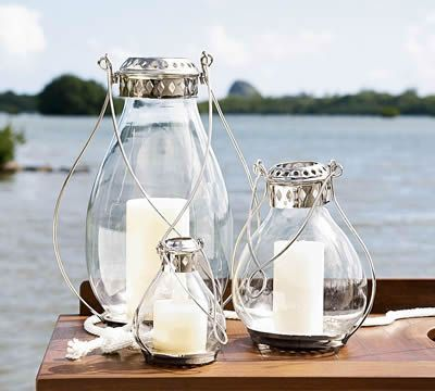 Artsy Vintage Nautical Wedding Theme  Candles and lamps
