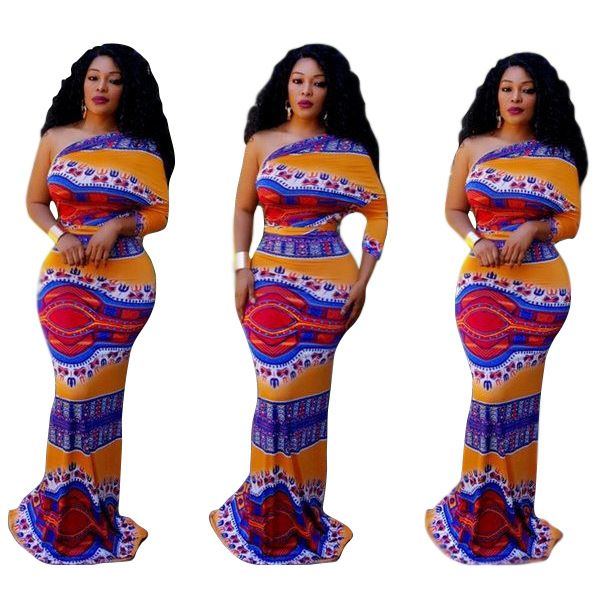 2017 New Fashion Bazin Print Dashiki Big Elastic Long Dress Style Color Patter Sexy Party Dress For Lady