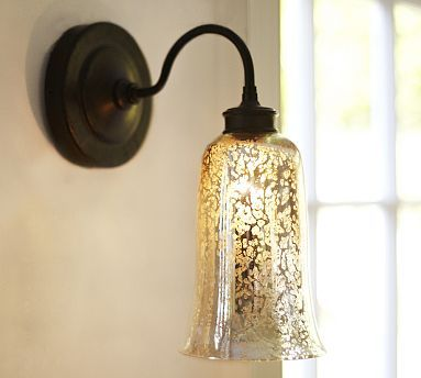 Brantley Antique Mercury Glass Sconce Overall Wide X Deep High Shade Diameter Back Plate Thick Bulb 60 Watts