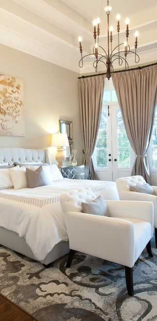 Gorgeous master bedroom neutrals gray ivory chandelier