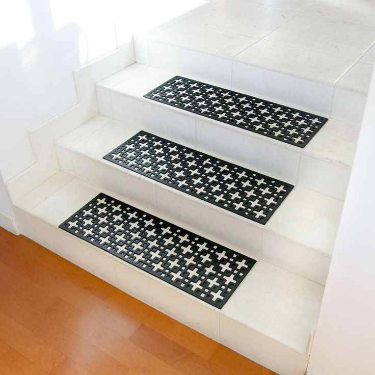 "Rubber-Cal ""Stars"" Recycled Rubber Step Mat - Black Stair Tread - 6 pcs - Overstock Shopping - Big Discounts on Rubber-Cal Door Mats"