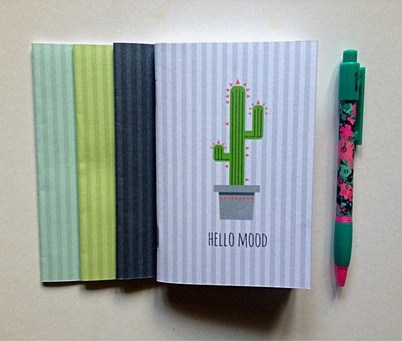 Handmade notebooks Cactus pattern notebooks by cheapsmarttoys