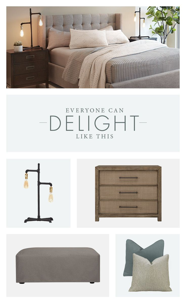 Delight in home accent pieces like an eclectic table lamp, neutral toned pillows, a wood grain bedside table, or a comfortable ottoman.