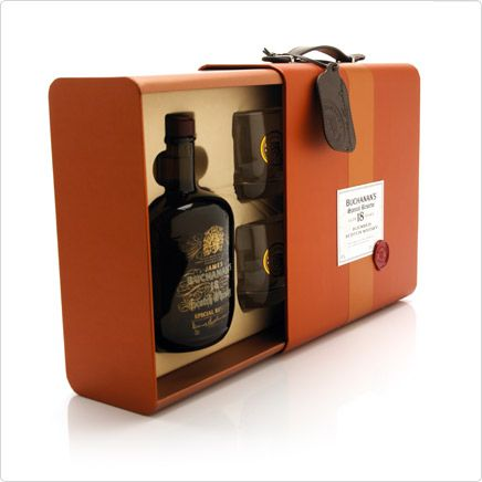 Buchanan Whisky #packaging #leather #tag #luxury #gift box