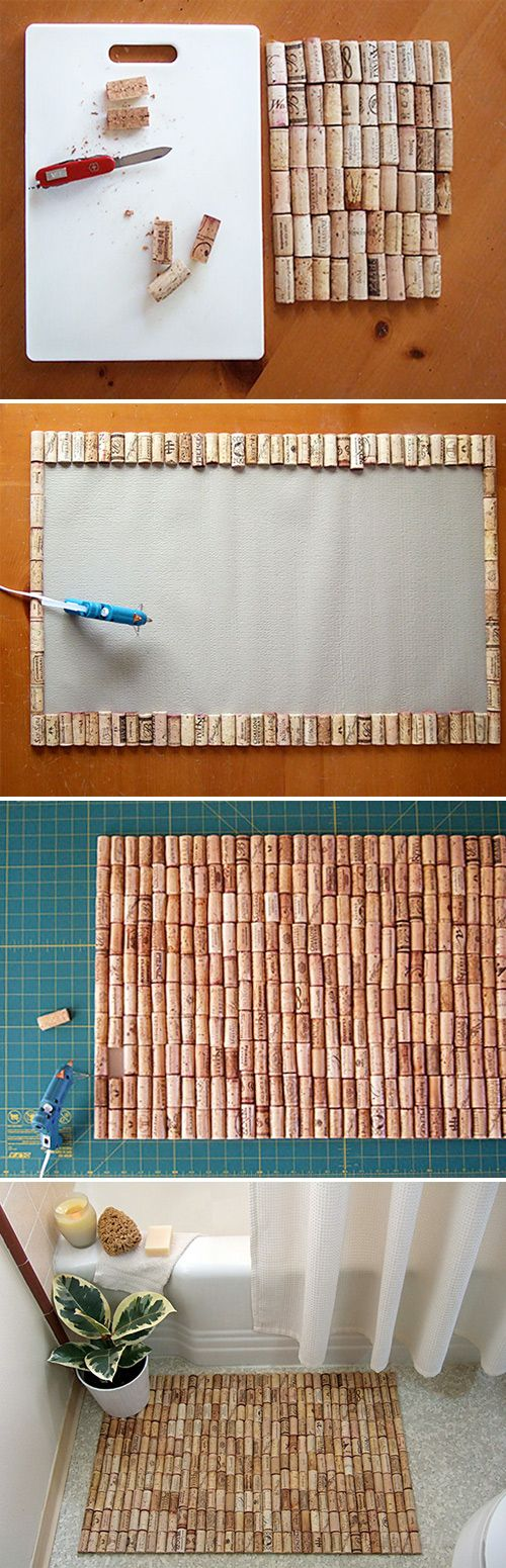 Wine Cork Bath Mat  - Interesting idea, but I would use a different adhesive, something a little more durable like E6000.