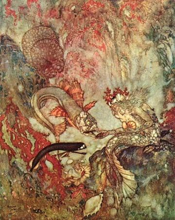 Once upon a time, in a splendid palace on the bed of the bluest ocean, lived the Sea King, a wise old triton with a long flowing white beard. He lived in a magnificent palace, built of gaily coloured coral and seashells, together with his five daughters, very beautiful mermaids...   Story by Hans Christian Andersen. Illustrated by Edmund Dulac