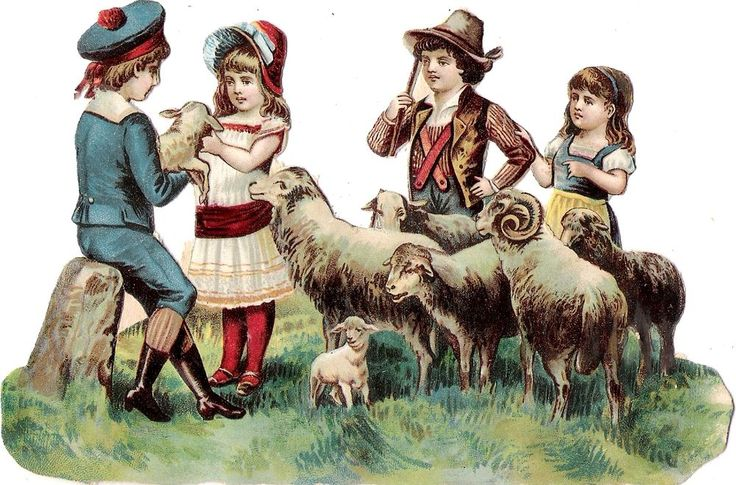 Oblaten Glanzbild scrap die cut chromo Kind 16cm Schaf sheep mouton child girl: