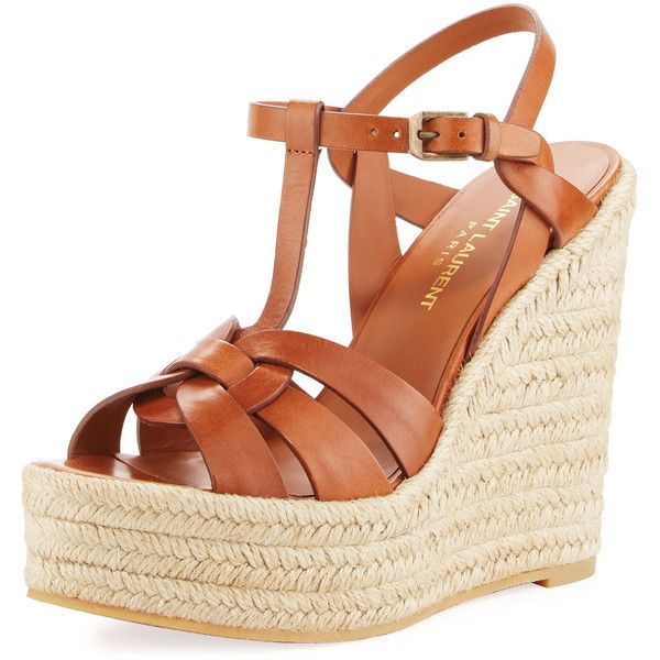 Saint Laurent Tribute Leather Platform Espadrille Sandal ($695) ❤ liked on Polyvore featuring shoes, sandals, brown, ankle strap wedge sandals, brown braided sandals, leather sandals, platform wedge sandals and espadrille wedge sandals