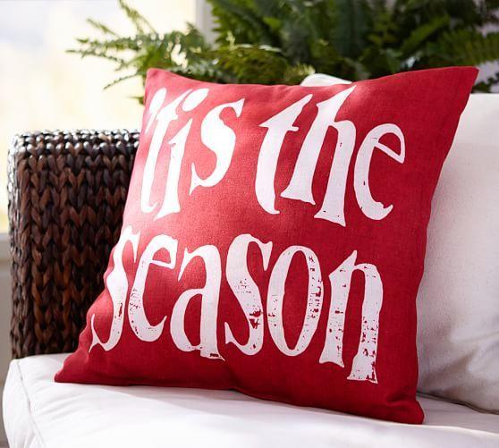 Tis the Season Indoor/Outdoor Pillow   Pottery Barn