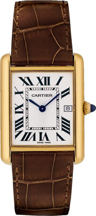 Tank Louis Cartier watch Large model, 18K yellow gold, leather, sapphire