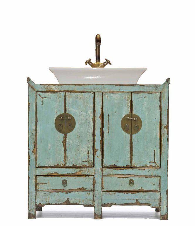 baño mueble decapado chino a medida - muebles a medida | replicas muebles | muebles personalizados | muebles online