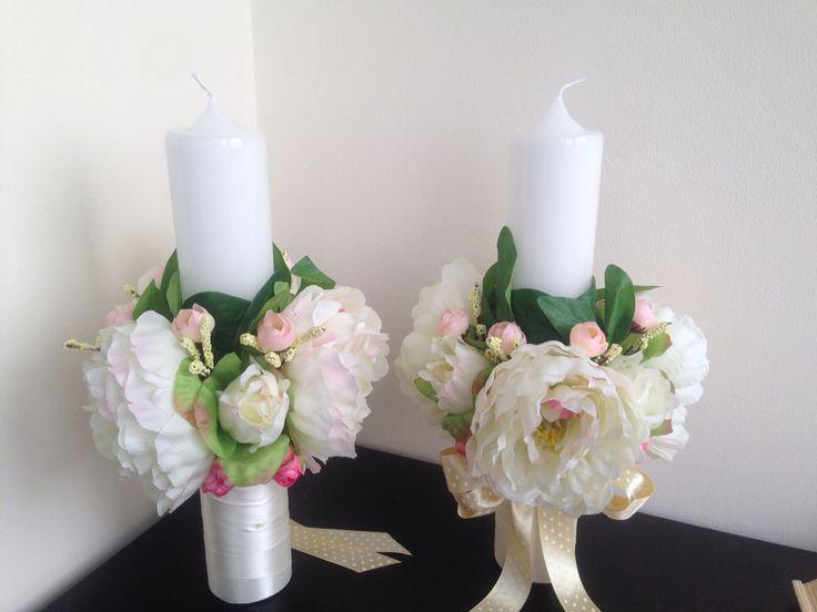 Lumanari nunta cu flori artificiale. Silk flowers wedding candles.