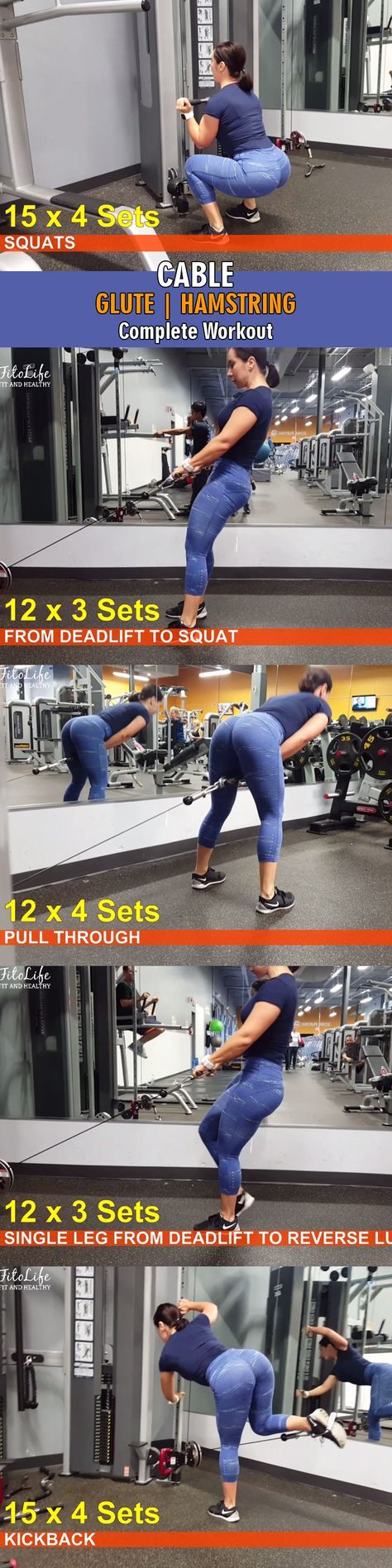 Complete Glute and Hamstrings workout for women using Cables only! Click on the image to check out the video. #gluteworkout #glutetraining #glues #bootybuilding #glutebuilding