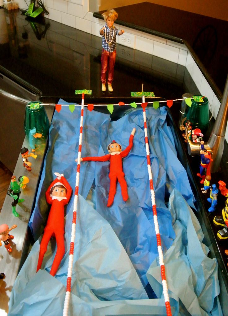 Elf On The Shelf Day 2 Elf Swim Meet Elf On The Shelf