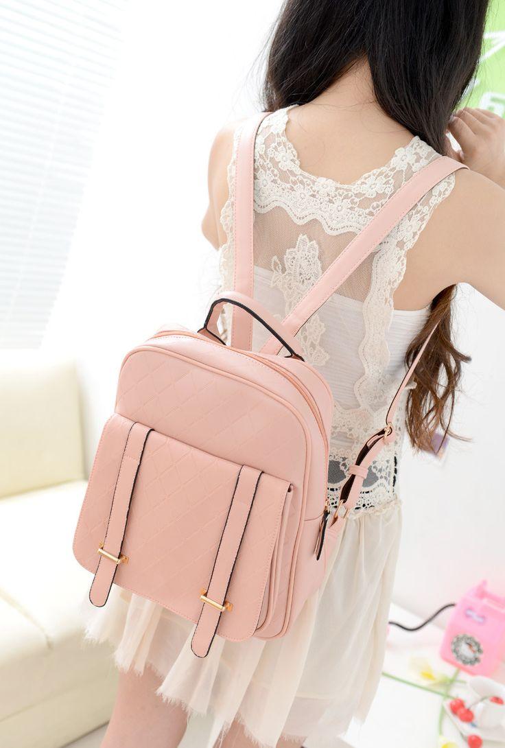 #Korean #Style #Cute #Pink #Backpack