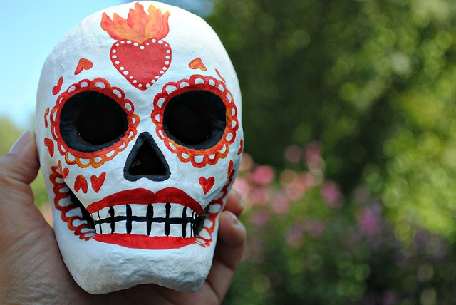 Flaming White Sugar Skull