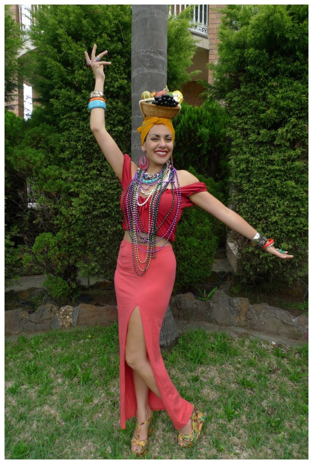 Day 227: Carmen Miranda #costume. Theme Me is a blog that follows a personal challenge to dress to a different theme every day for a whole year.