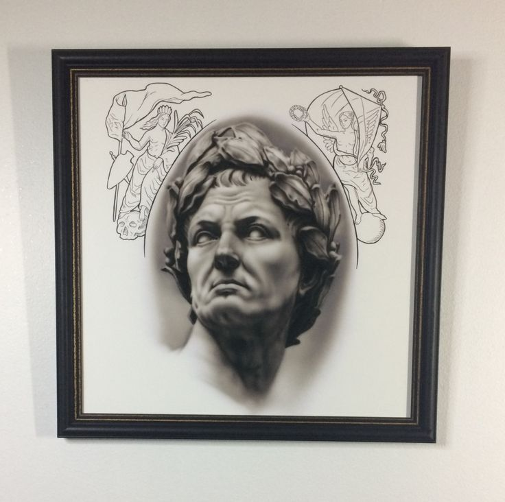 Framed Caesar Limited Edition Tattoo Art Giclee Print by Inkversion on Etsy