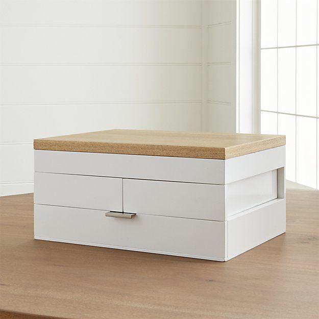 Selma White Jewelry Box | Crate and Barrel