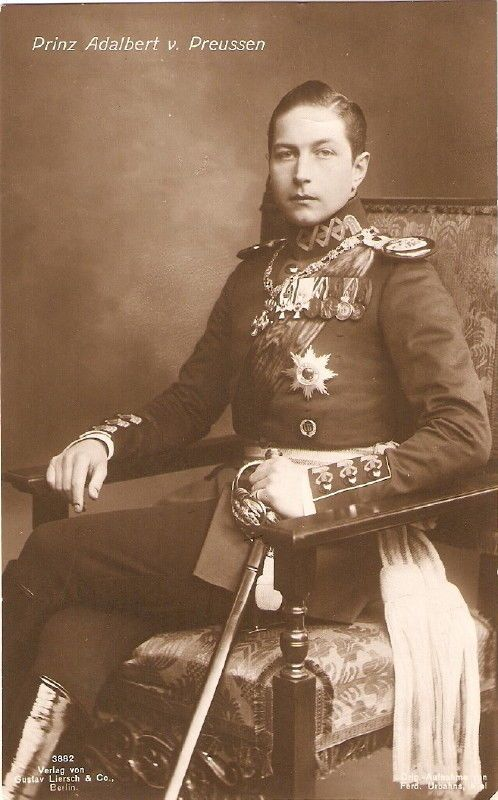 Prince Adalbert of Prussia (1884-1948) was a son of Kaiser Wilhelm II and his first wife,  Augusta Viktoria of Schleswig-Holstein.  Adalbert's family did not think Augusta Viktoria was good enough for his father as she was not a royal princess.