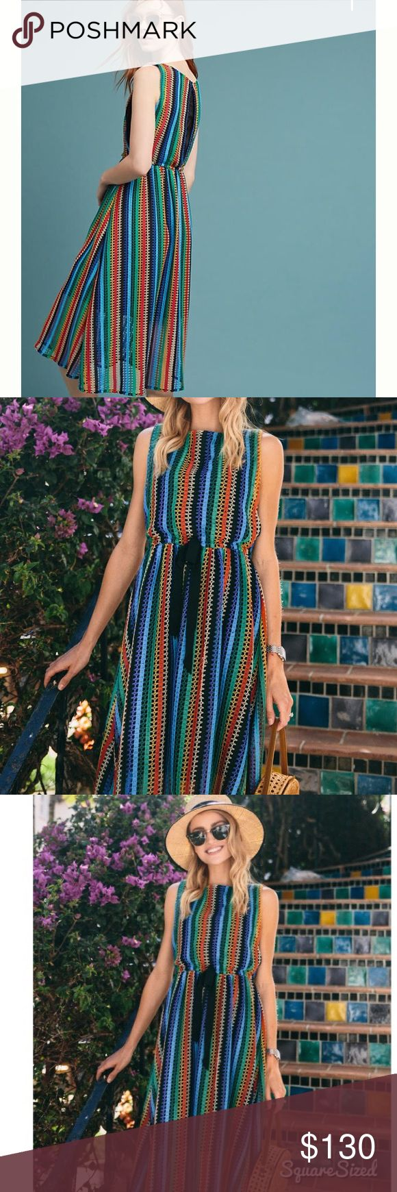 NEW Anthropologie Rainbow Crochet Midi Dress, 12 Still on Anthropologie website for $188. Brand new without tags. Flattering and perfect for summer midi dress. Tag marked to prevent in store returns. Anthropologie Dresses Midi