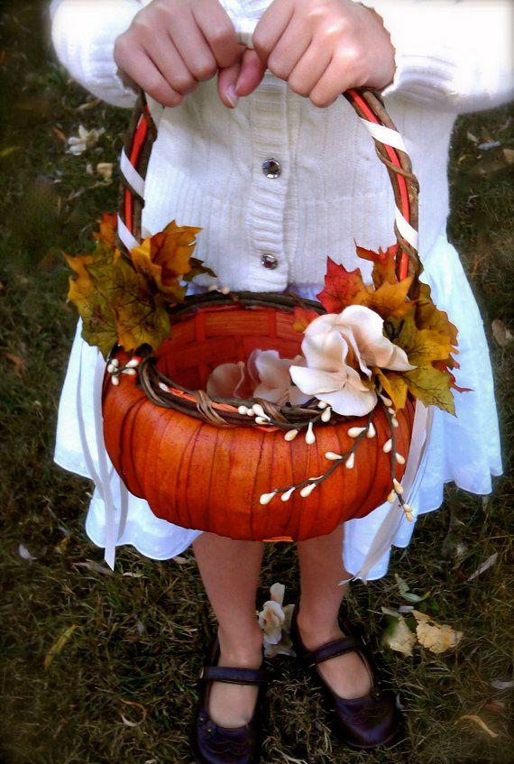 Fall Wedding pumpkin Flower girl Basket
