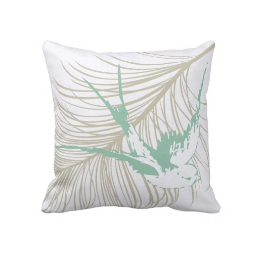 feather u0026 mint green sparrow vintage pillow