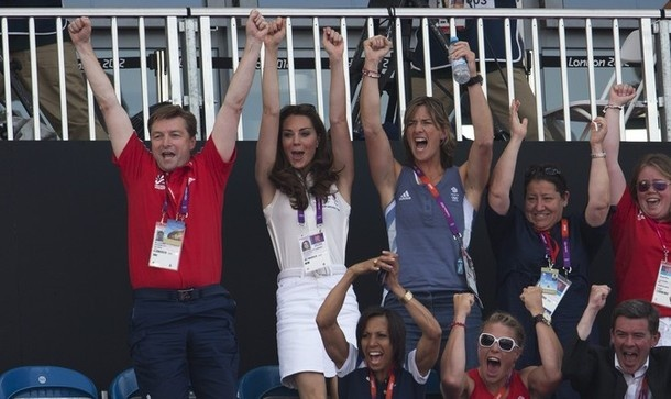 Kate in Sleeveless White Top and Denim Skirt for Team GB Hockey