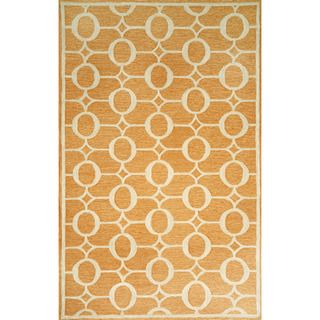 Hand-made Grace Orange Transitional Outdoor Rug (7'6 x 9'6)