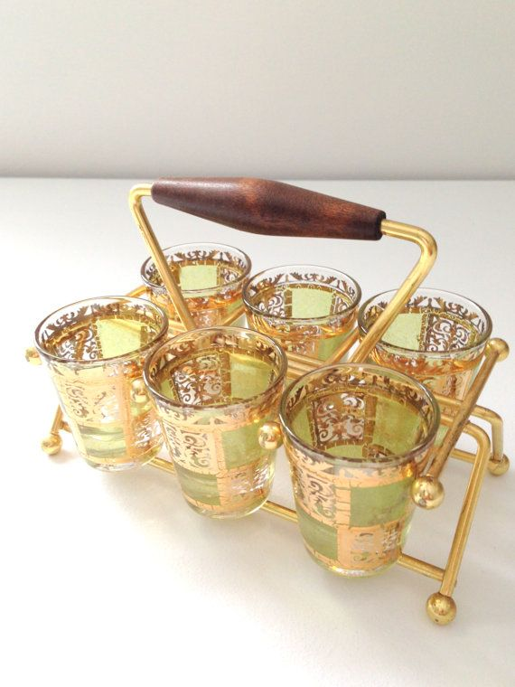 Mid Century Hollywood Regency Style Shot Glasses Set of 8 with Wooden Handle Carrier  Mad Men Housewarming Gift Inspiration - Ca. 1950's