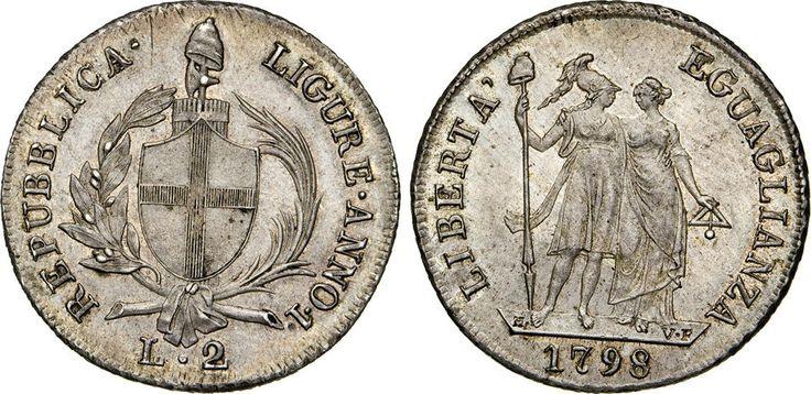 NumisBids: Numismatica Varesi s.a.s. Auction 65, Lot 403 : GENOVA - REPUBBLICA LIGURE (1798-1805) 2 Lire 1798 I. Pag. 17 ...