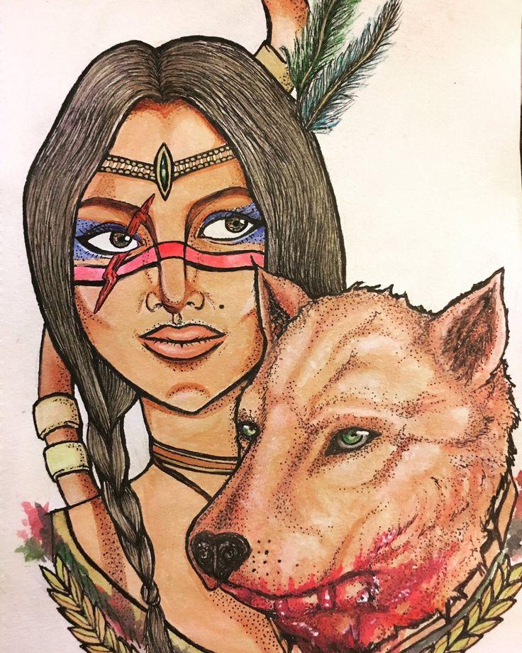 """Lobo rojo"" Dibujo tradicional a acuarelas al agua y micropen"