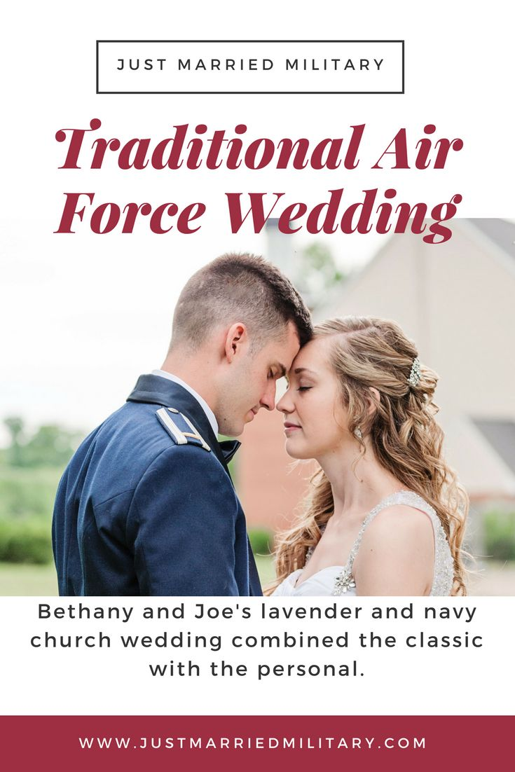 "Bethany and Joe's classy Air Force wedding featured a lavender and navy color palette, celebrating the end of a long-distance relationship and the beginning of a military adventure.  ""I chose my colors based on the Air Force Mess Dress uniform the groomsmen would be wearing,"" the bride explained. ""I was going for a classic and elegant wedding – and I couldn't have been more pleased with how it all turned out."""