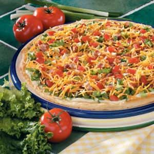 BLT Pizza-this is always a hit & can prep ahead of time & assemble right before serving. - only use half of the mayo & mustard for 1 pizza & reduce the lettuce to 2 cups