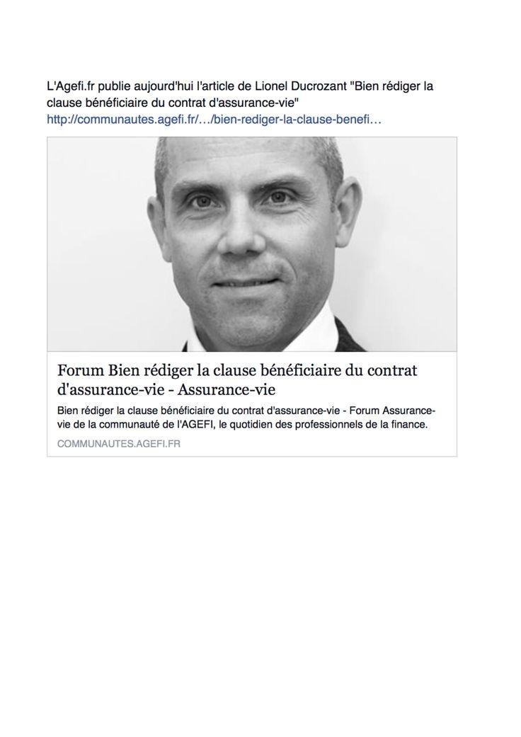 Bien rédiger la clause bénéficiaire du contrat d'assurance-vie, L'AGEFI, Novembre 2015 (web).