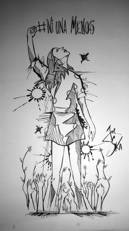 """""""Ni una menos"""", arte de Joe Ska, docente de La 19. Te invitamos a que mandes tus dibujos, pinturas, caricaturas, para fortalecer la campaña contra la violencia hacia las mujeres y contra los femicidios. Este 3 de junio a las 17:00 hs. gritemos bien fuerte que si ¡tocan a una, nos organizamos miles!   Participa de la convocatoria y mira las obras nos vienen llegando en > http://bit.ly/1KzRwbN"""