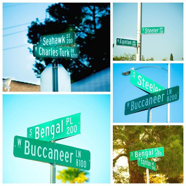 #StreetSignSaturday -- Did you know Las Vegas has a subdivision with football team names? Las Vegas Planning Department employees were requested  to name the streets and they selected their favorite football teams. Very cool!
