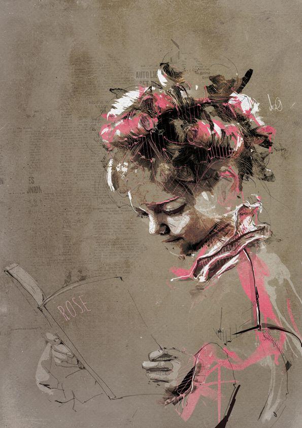 #1 of 2 Little girl reader, original and copy / Pequeña lectora, original y copia (ilustración de Florian Nicolle) http://bibliolectors.tumblr.com/page/2