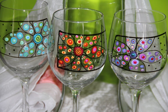 Wine Glasses  Hand Painted by ToNYaBeSToRDeSiGNS on Etsy, $29.95