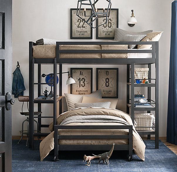 RH baby&child's Industrial Loft Twin Study Bunk With 1 Desk:A darling of industrial-era design, steel offers unparalleled strength and durability, making it the ideal material for turn-of-the-century skyscrapers – and our space-saving, multilevel bed.