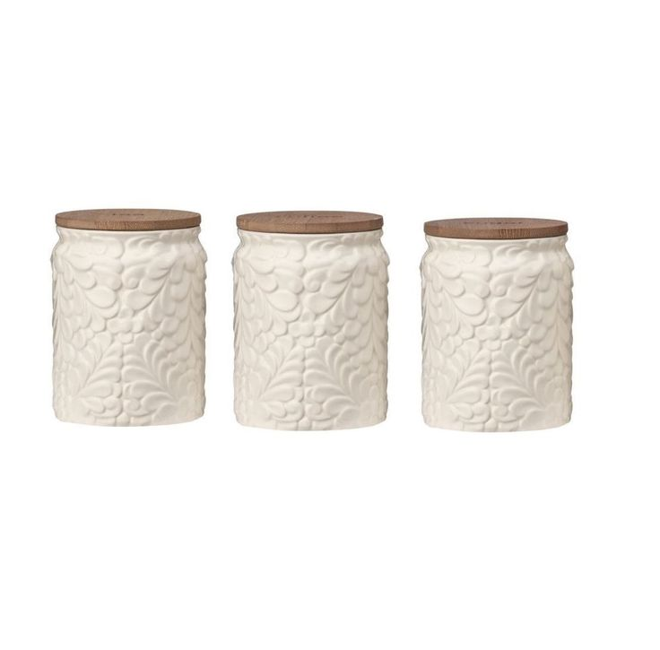 Magnolia Tea Coffee Sugar Canisters Set with Dolomite/Bamboo Lid