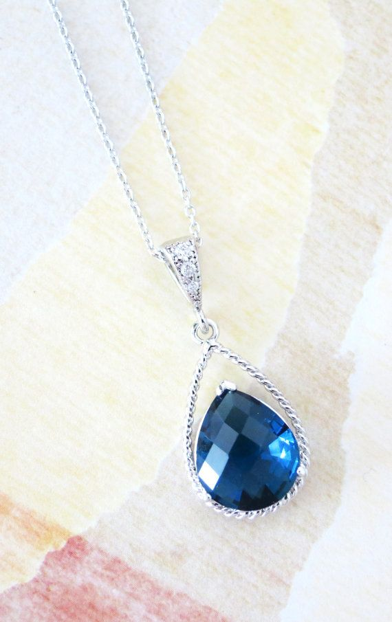 Mabel Montana Blue Crystal Teardrop Necklace