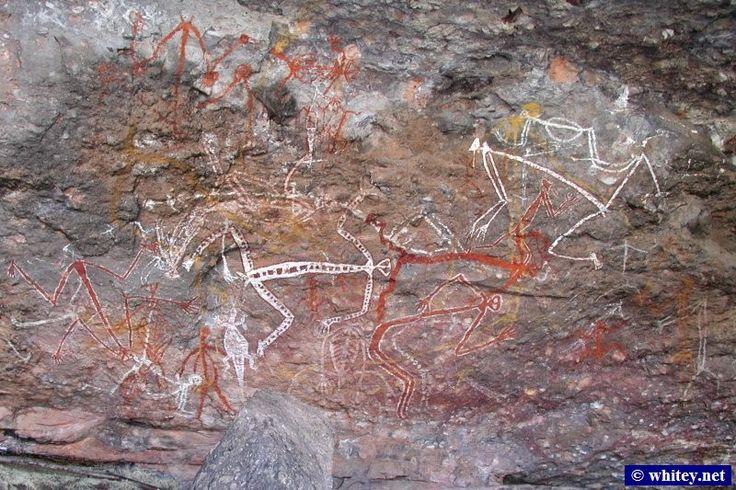 アボリジニのロックアート(岩絵) depicting Dance, カカドゥ国立公園, オーストラリア.
