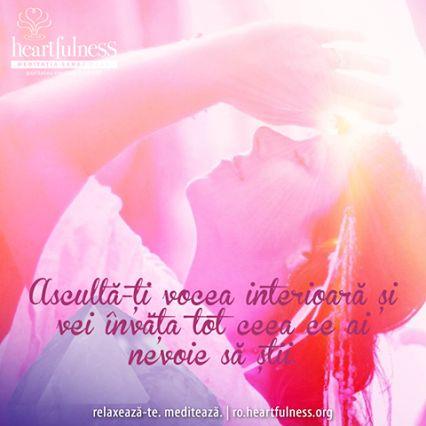 Ascultă-ți vocea interioară și vei învăța tot ceea ce ai nevoie să știi. #heartfulness   #inspiratii_zilnice   #hfnro  Heartfulness Romania - Google+