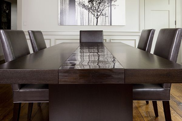 Perfect Aguirre Design   Custom Made Oak And Bamboo Dining Table With Rift Oak  Pedestals.