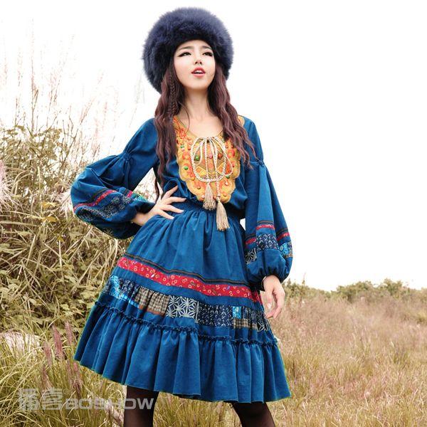 播喜BOSHOW(孟買的海)2014秋裝新款女長袖繡花長袖大擺連衣裙2色-淘寶網