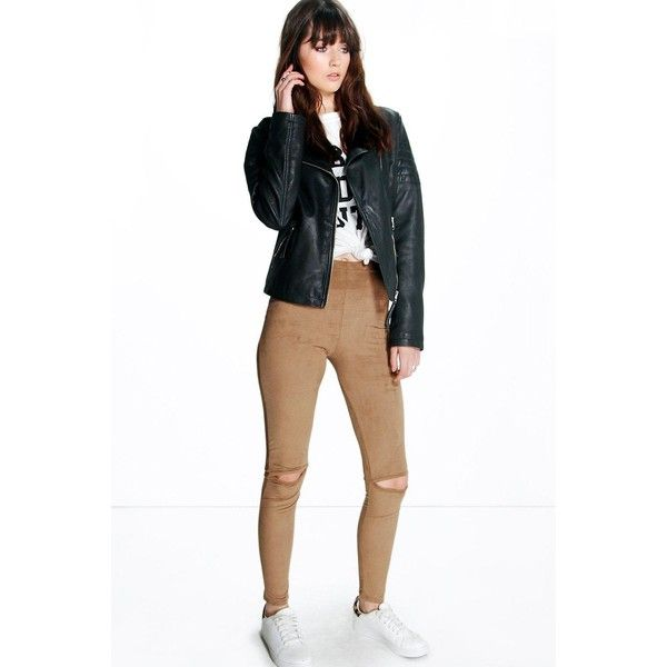 Boohoo Cleo Suedette Split Knee Leggings ($16) ❤ liked on Polyvore featuring pants, leggings, camel, high-waisted pants, punk leggings, ripped leggings, slim pants and baggy pants